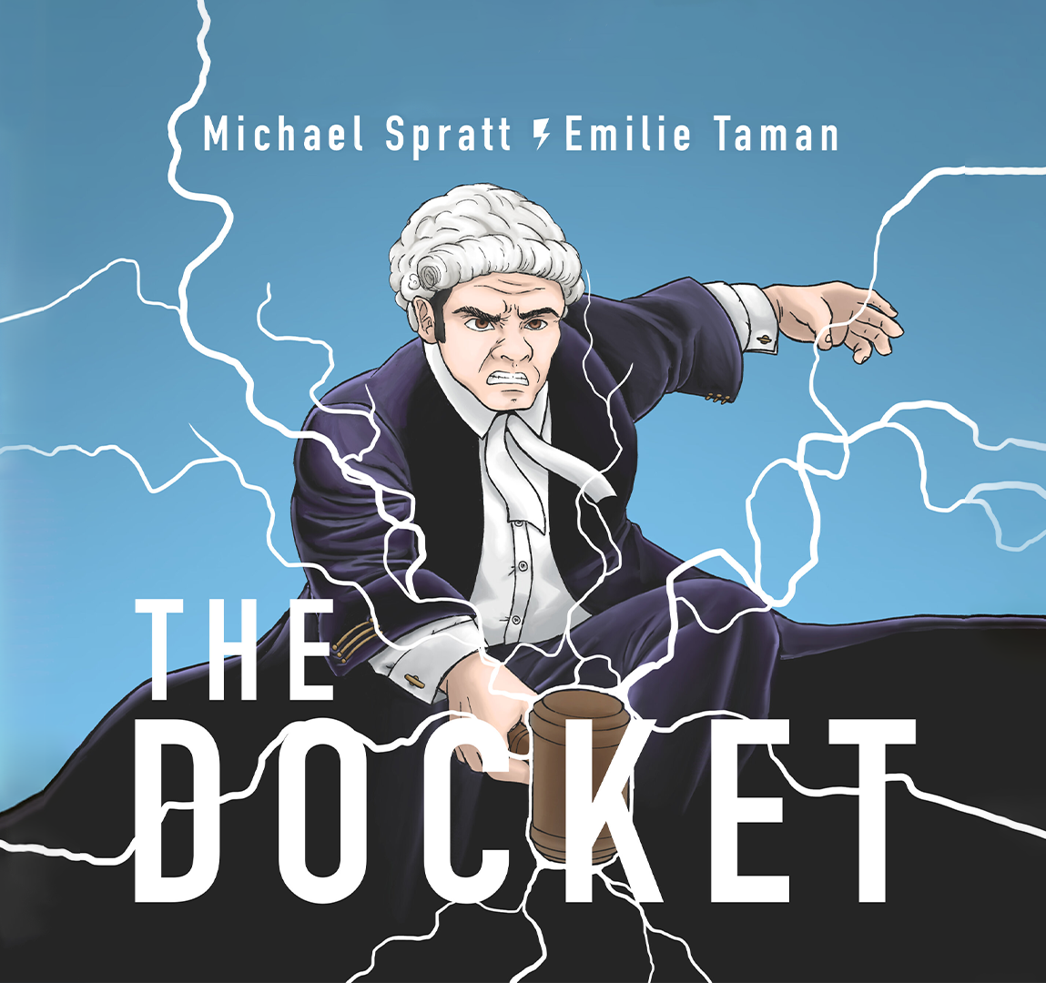 The Docket Podcast cover of cartoon judge hitting gavel and producing lightning sparks